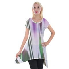 Colored Pattern Short Sleeve Side Drop Tunic