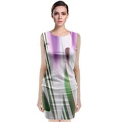 Colored Pattern Sleeveless Velvet Midi Dress