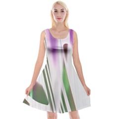 Colored Pattern Reversible Velvet Sleeveless Dress