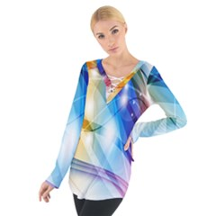Colour Abstract Women s Tie Up Tee