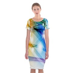Colour Abstract Classic Short Sleeve Midi Dress