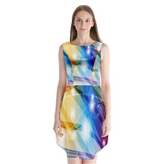 Colour Abstract Sleeveless Chiffon Dress