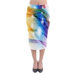 Colour Abstract Midi Pencil Skirt