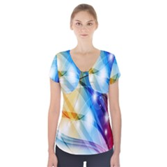 Colour Abstract Short Sleeve Front Detail Top