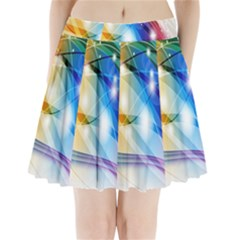 Colour Abstract Pleated Mini Skirt