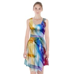 Colour Abstract Racerback Midi Dress