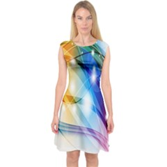 Colour Abstract Capsleeve Midi Dress