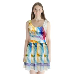 Colour Abstract Split Back Mini Dress