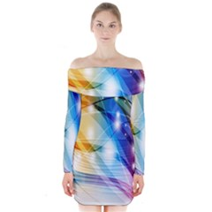 Colour Abstract Long Sleeve Off Shoulder Dress