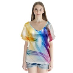 Colour Abstract Flutter Sleeve Top