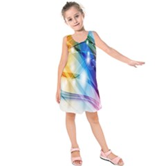 Colour Abstract Kids  Sleeveless Dress