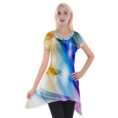 Colour Abstract Short Sleeve Side Drop Tunic