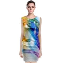 Colour Abstract Sleeveless Velvet Midi Dress