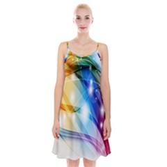 Colour Abstract Spaghetti Strap Velvet Dress