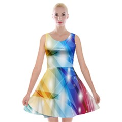 Colour Abstract Velvet Skater Dress