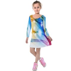 Colour Abstract Kids  Long Sleeve Velvet Dress