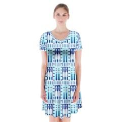 Egyptianpattern Colour Blue Short Sleeve V-neck Flare Dress