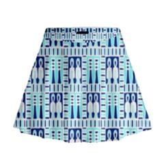 Egyptianpattern Colour Blue Mini Flare Skirt