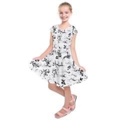 Flower Floral Black Leaf Kids  Short Sleeve Dress