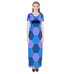 Four Colour Theorem Blue Grey Short Sleeve Maxi Dress