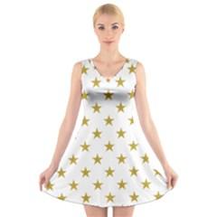 Gold Stars V Neck Sleeveless Skater Dress