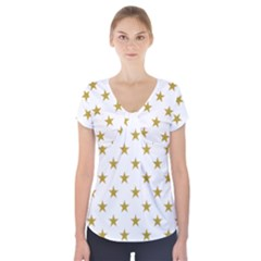 Gold Stars Short Sleeve Front Detail Top