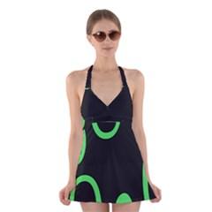 Green Rings Black Halter Swimsuit Dress