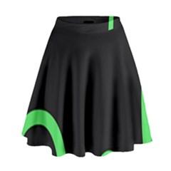 Green Rings Black High Waist Skirt