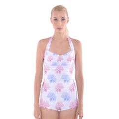 Flower Blue Pink Boyleg Halter Swimsuit