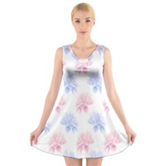 Flower Blue Pink V Neck Sleeveless Skater Dress