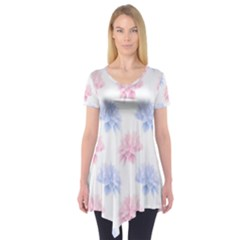Flower Blue Pink Short Sleeve Tunic