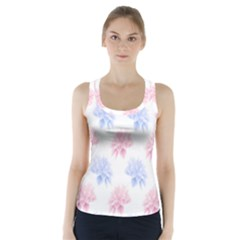 Flower Blue Pink Racer Back Sports Top