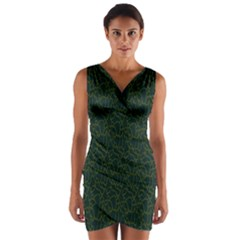 Grid Background Green Wrap Front Bodycon Dress