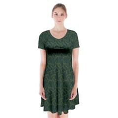 Grid Background Green Short Sleeve V-neck Flare Dress