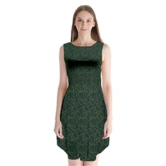 Grid Background Green Sleeveless Chiffon Dress