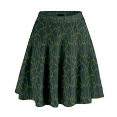 Grid Background Green High Waist Skirt