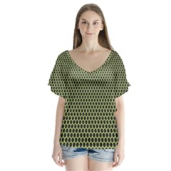 Hexagon Green Flutter Sleeve Top