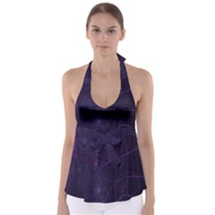 Purple Abstract Spiral Babydoll Tankini Top