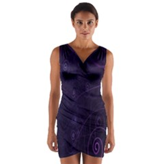 Purple Abstract Spiral Wrap Front Bodycon Dress