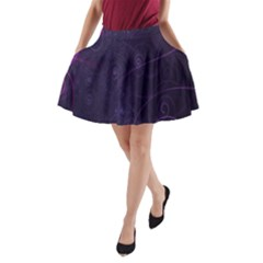 Purple Abstract Spiral A-Line Pocket Skirt