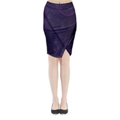 Purple Abstract Spiral Midi Wrap Pencil Skirt