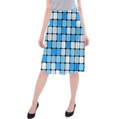 Ronded Square Plaid Blue Midi Beach Skirt