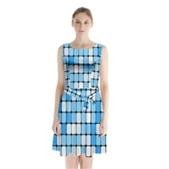 Ronded Square Plaid Blue Sleeveless Chiffon Waist Tie Dress