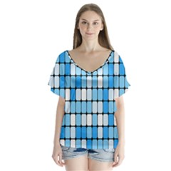 Ronded Square Plaid Blue Flutter Sleeve Top