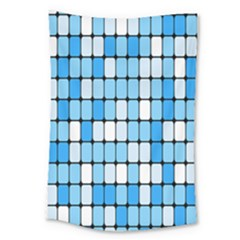 Ronded Square Plaid Blue Large Tapestry