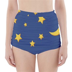 Starry Night Moon High-Waisted Bikini Bottoms