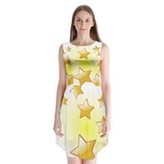 Star Gold Sleeveless Chiffon Dress