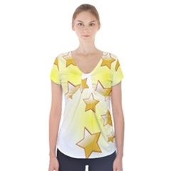 Star Gold Short Sleeve Front Detail Top