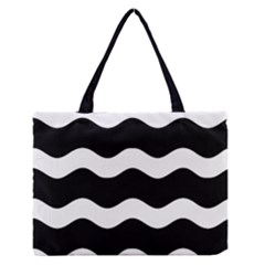 Wave Black Medium Zipper Tote Bag