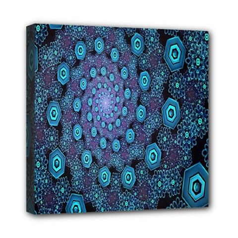 Illusion Spiral Rotation Shape Purple Flower Mini Canvas 8  X 8